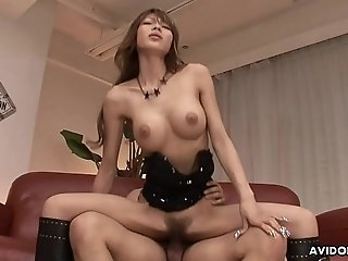 Busty Asian idol wears leather boots while riding a boner