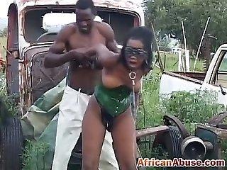African babe ebony pussy fucks outdoor in bondage threesome fucking