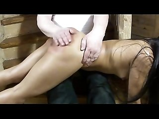 Red ass - spanking home on the stairs