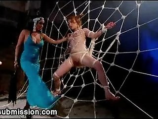 Three babes from cage gets gangbanged in dungeon
