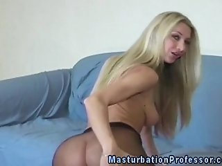 Glamour busty blonde in nylon teasing