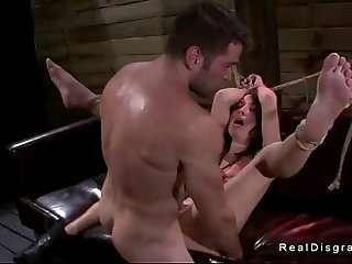 Small tits Marley Blaze in bdsm deep throat fucked